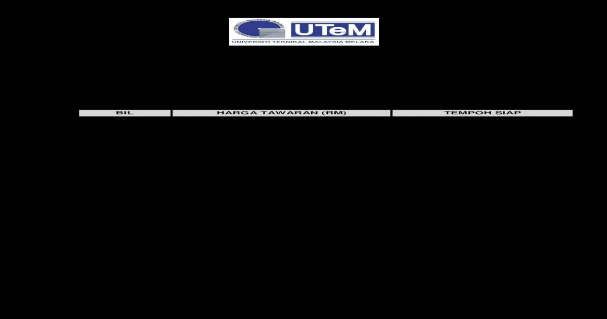 No Tender Utem Ben 15 2013 Tender Bagi Kerja Tinggi Papan Suis