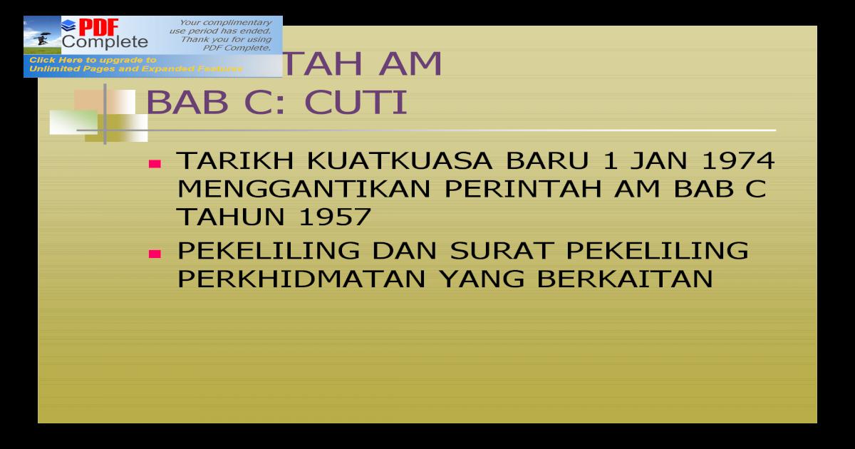 Bab C Cuti Pdf Document
