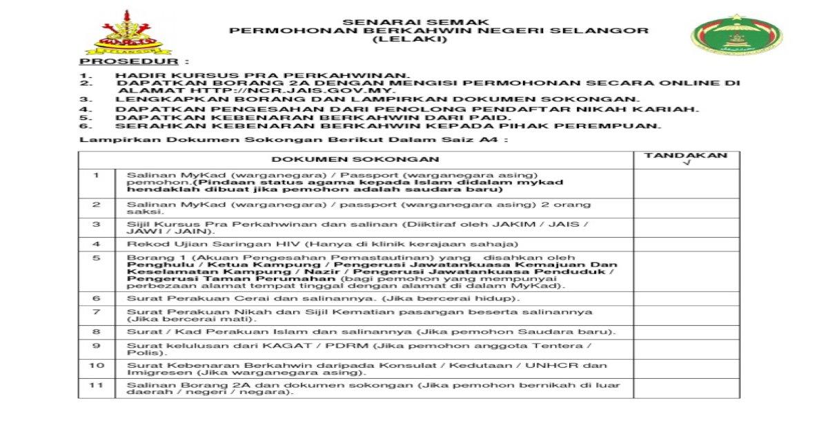 Senarai Semak Permohonan Nikah Lelaki Pdf Document