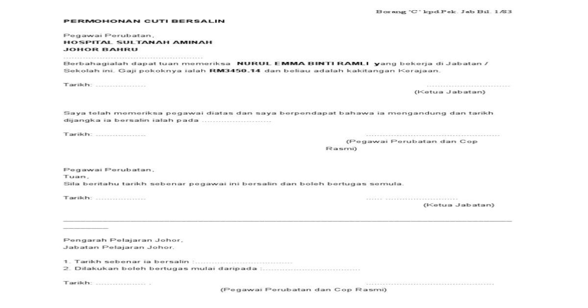 Borang C Cuti Bersalin Pdf Document