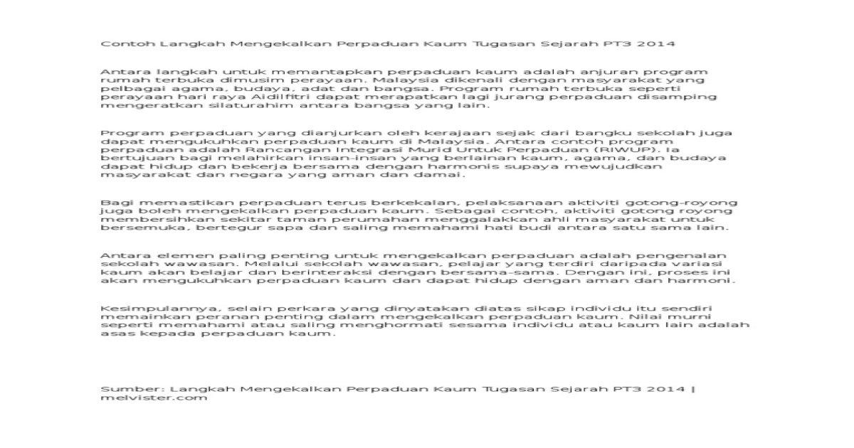 Contoh Langkah Mengekalkan Perpaduan Kaum Tugasan Sejarah Pt3 2014 Pdf Document