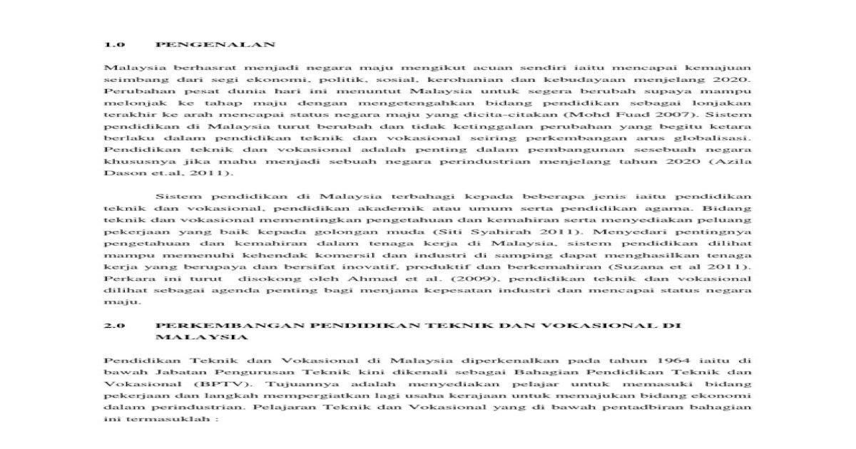 Pendidikan Teknik Dan Vokasional Dalam Pendidikan Negara Pdf Document