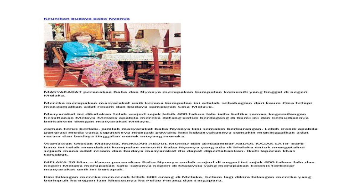Keunikan Budaya Baba Nyonya Pdf Document