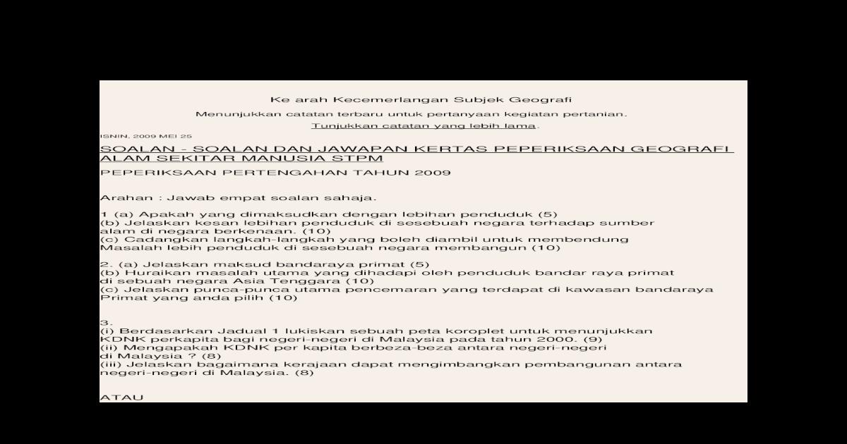 Geografi Alam Sekitar Manusia Stpm Docx Document