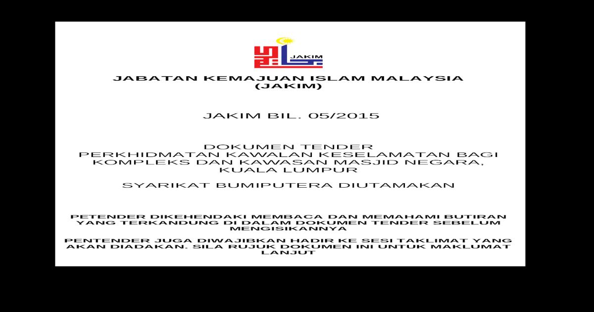 Dokumen Tender Perkhidmatan Keselamatan Masjid Negara 2015 Doc