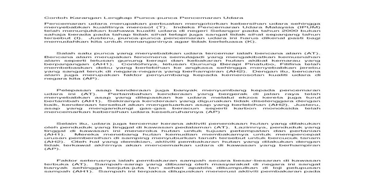 Contoh Karangan Lengkap Punca Pdf Document