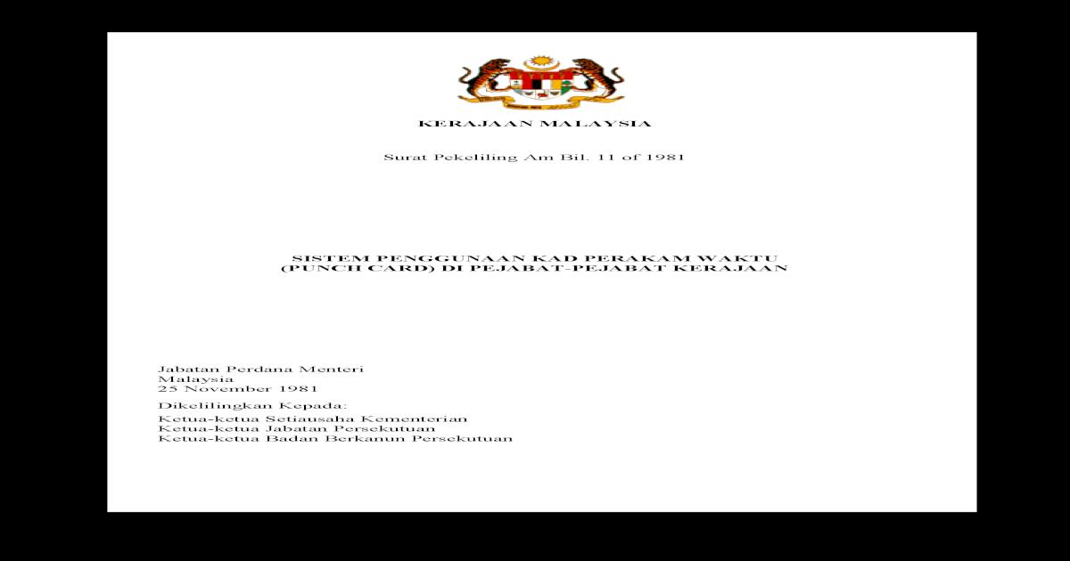 Surat Pekeliling Am Bil 11 Tahun 1981 Tatatertib Di Bawah Perintah Am Bab D Hendaklah Dijalankan Oleh Lembaga Tatatertib Yang Sewajarnya Mengikut Peraturan Peraturan Biasa Pdf Document