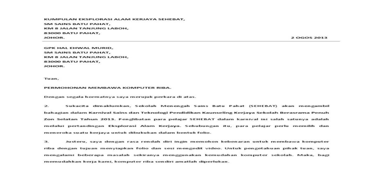 Surat Kebenaran Membawa Laptop Pdf Document