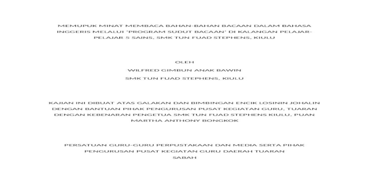 Kajian Tindakan Memupuk Minat Membaca Bahan Bahan Bacaan Dalam Bahasa Inggeris Docx Document