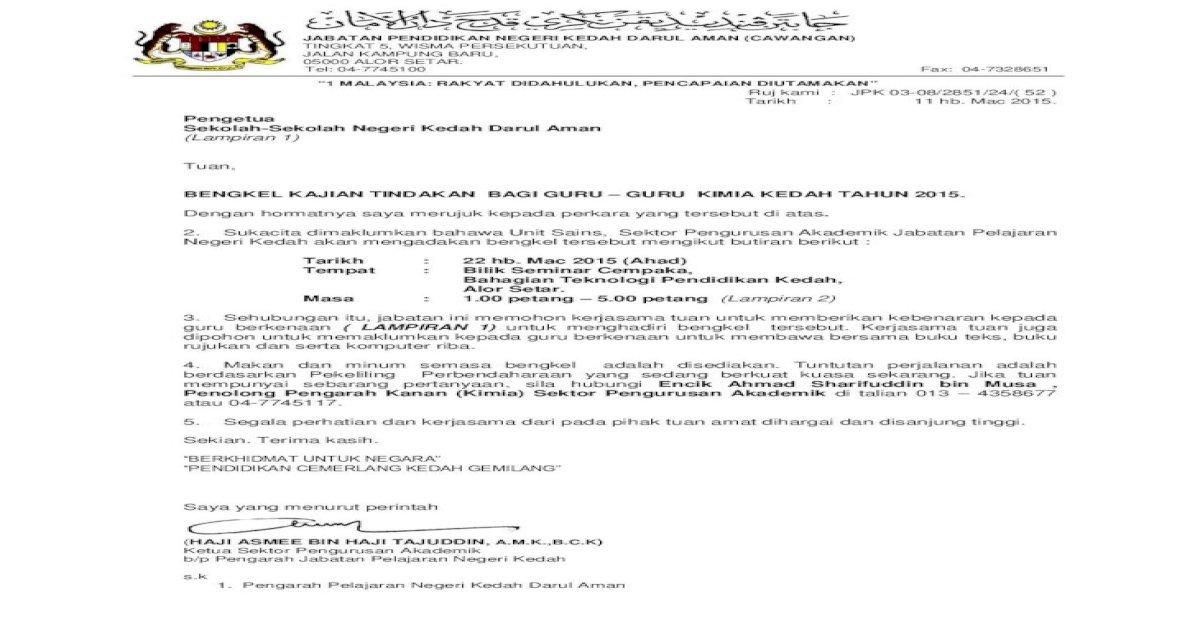Surat Guru Kajian Tindakan 2015 Pdf Pdf Document