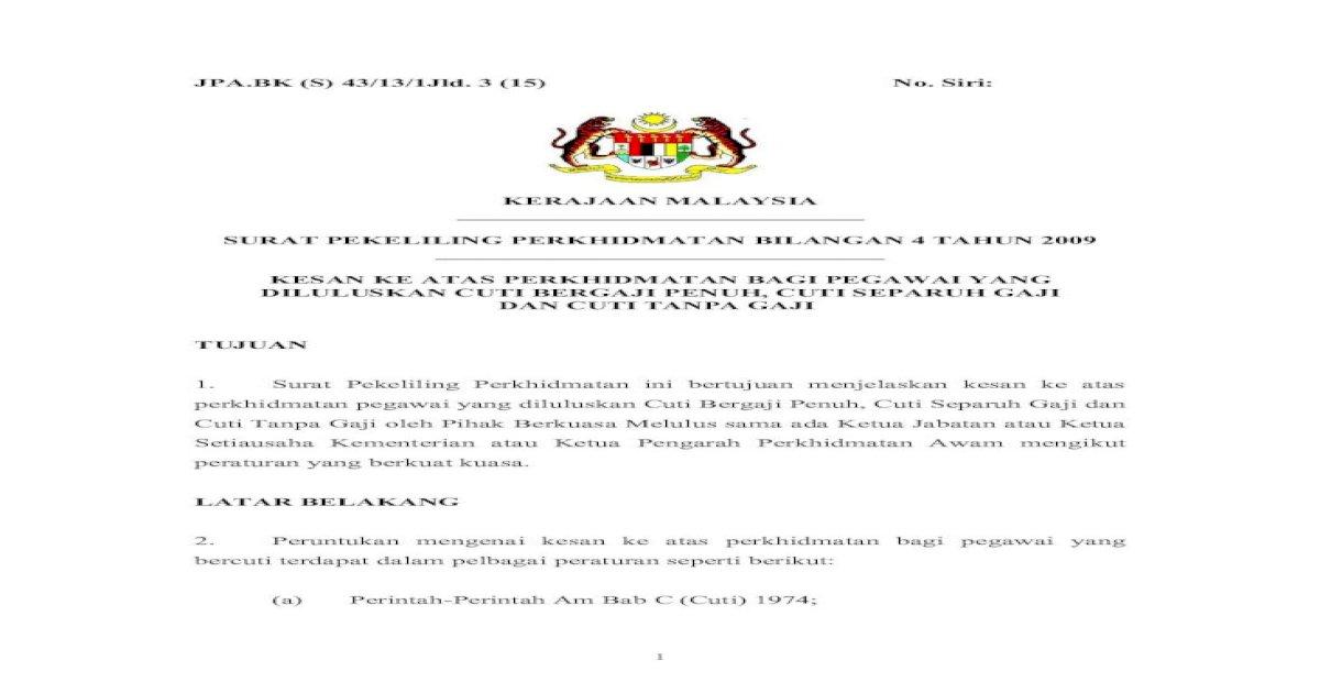 Surat Pekeliling Perkhidmatan Bilangan 4 Kelayakan Cuti Pdf K Layak Dibayar Bilangan Hari Yang Terlebih Ambil Hendaklah Dianggap Sebagai Cuti Termasuk Cuti Separuh Gaji Selama Pdf Document