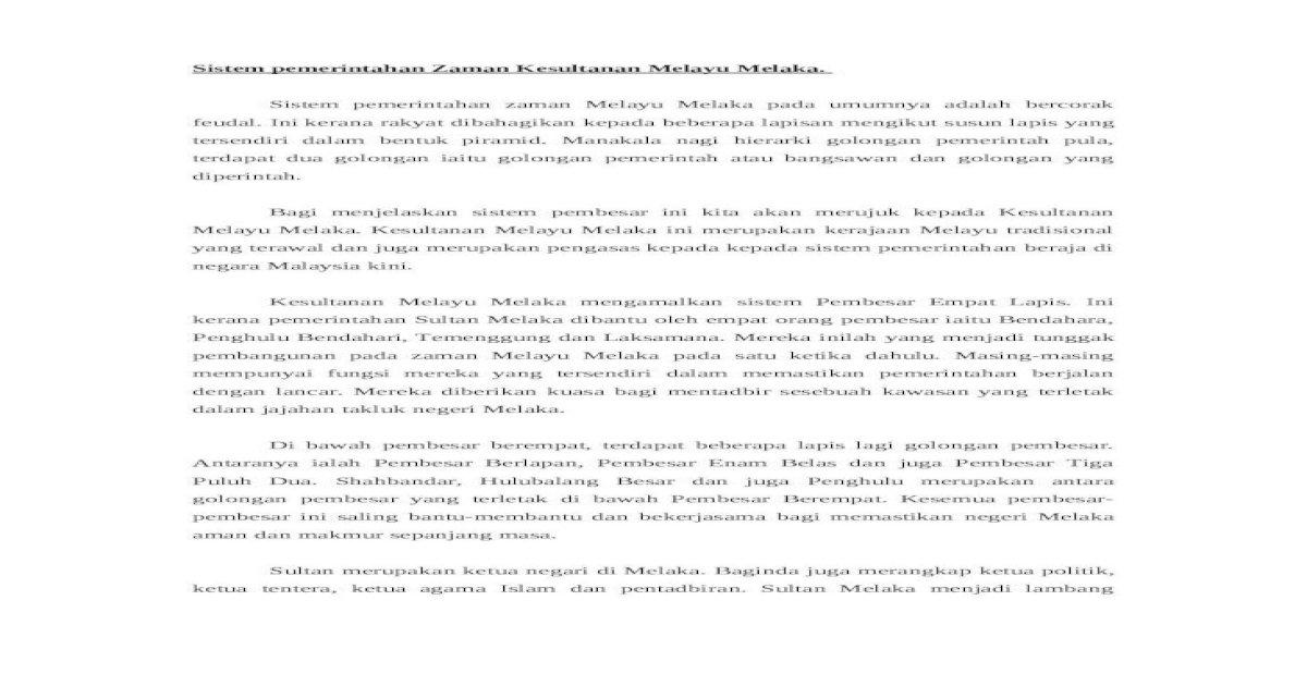 56649876 Kesinambungan Pemerintahan Kerajaan Melayu Melaka Dalam Sistem Ran Masa Kini Doc Doc Document