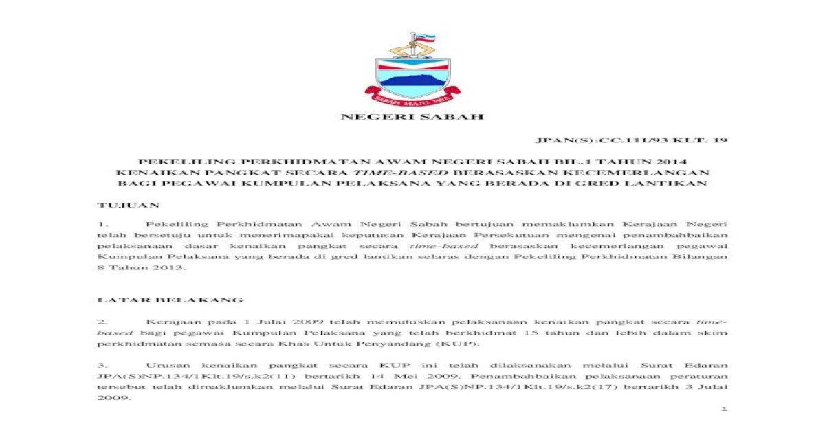 Negeri 1 Negeri Sabah Jpan S Cc 111 93 Klt 19 Pekeliling Perkhidmatan Awam Negeri Sabah Bil 1 Pdf Document