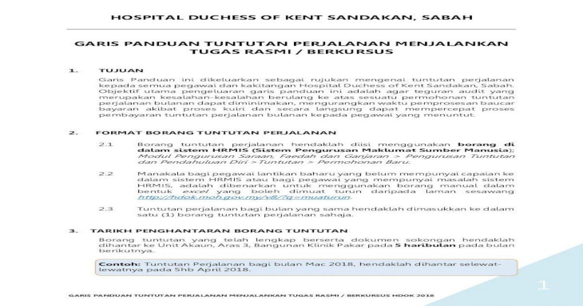 Hospital Duchess Of Kent Sandakan Sabah Garis Hdok Moh Gov My Uploads Muaturun Garis Panduan Elaun Pdf Document