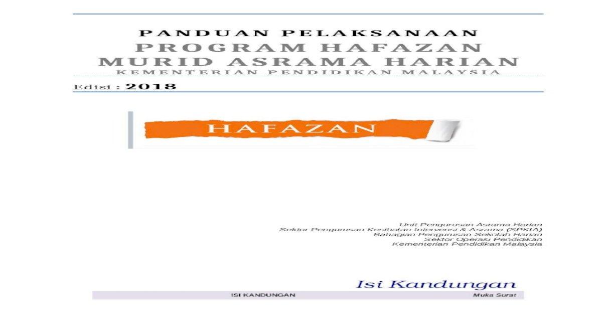 Viewprogram Hafazan Murid Asrama Harian Kpm Edisi 2018 Panduan Pelaksanaan Program Hafazan Murid Asrama Harian Kementerian Pendidikan Malaysia Edisi 2018 Author Bahrin Masduki 12 17 Docx Document