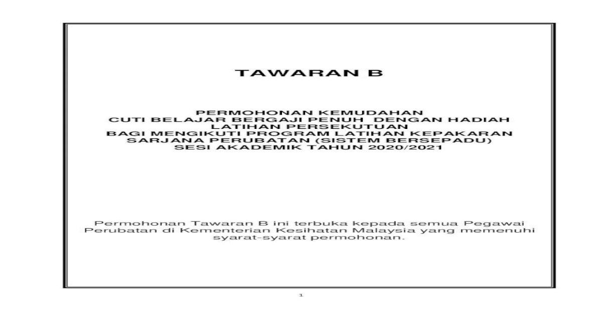 Tawaran B Ehlp Moh Gov Perubatan Di Kementerian Kesihatan Malaysia Yang Memenuhi Syarat Syarat Pdf Document
