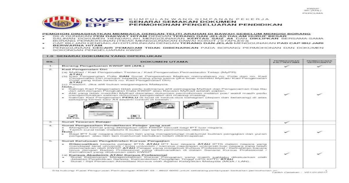 Senarai Semakan Dokumen Permohonan Majikan Dan Pekerja Ahli Surat Tawaran Pinjaman Pendidikan Pdf Document