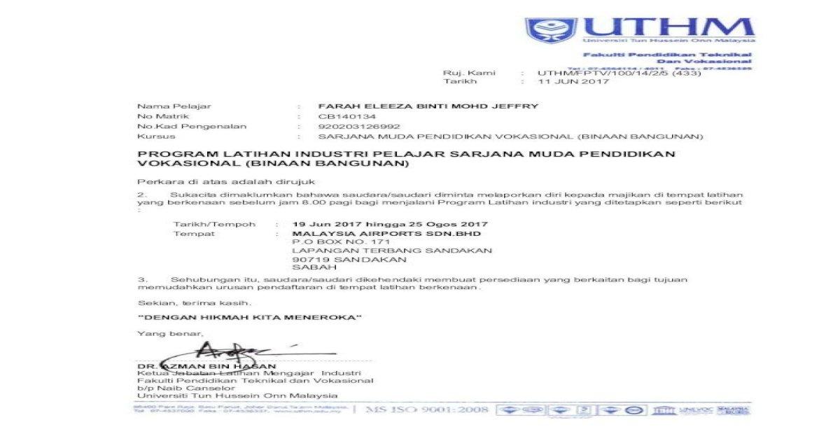 Program Latihan Industri Pelajar Sarjana Muda Fptv Uthm Edu My Jlmli Download Li Sem3 20162017 Bbb Surat Pdf Document