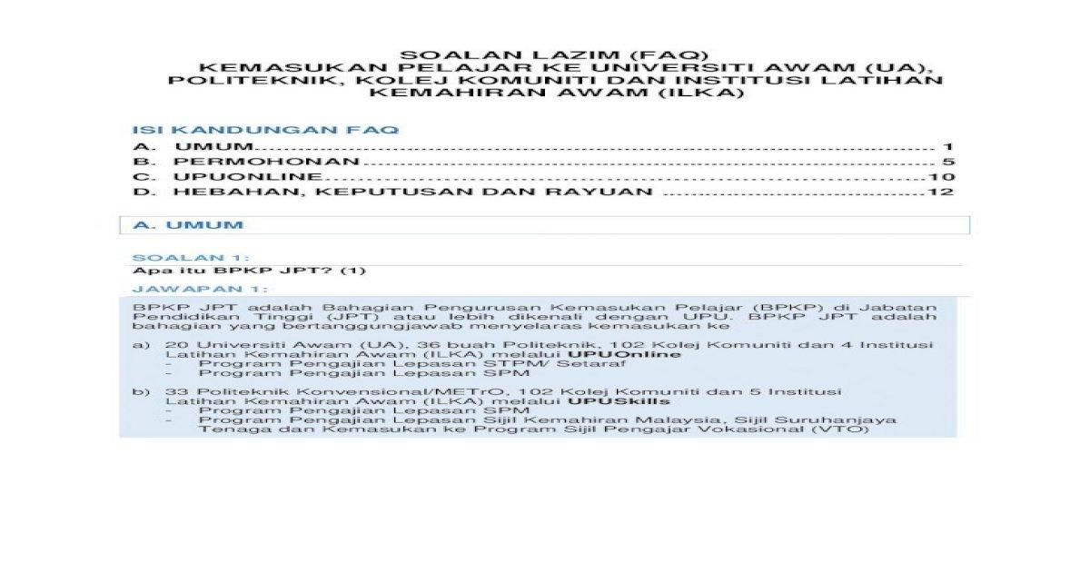 Soalan Lazim Faq Kemasukan Pelajar Ke Universiti Upu Moe Gov My Web Faq Update Twitter Twt Upu Pdf Document