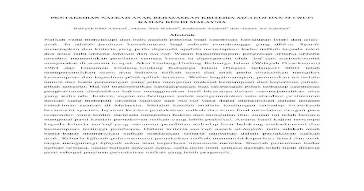 Pentaksiran Nafkah Anak Berasaskan Kajian Kes Di Malaysia Bahiyah Binti Ahmad1 Jabatan Fiqh Usul Akademi Pengajian Islam Universiti Malaya Email Raihan Um Edu My 4 Pensyarah Pdf Document