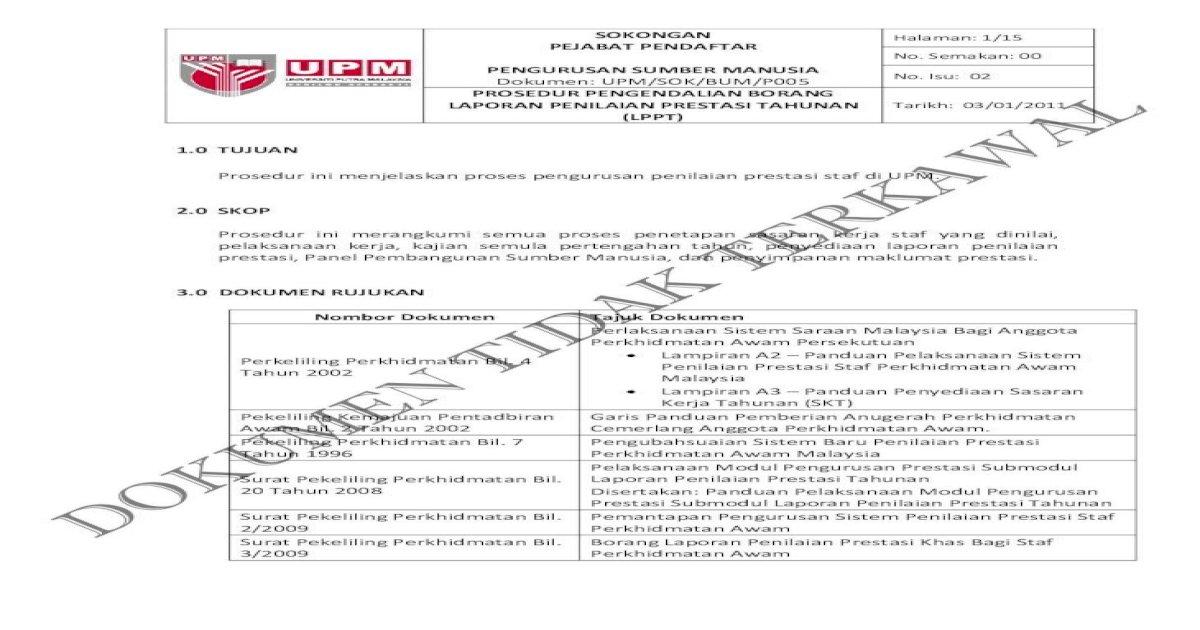 Prosedur Pengendalian Borang Laporan Penilaian Reg Upm Edu My