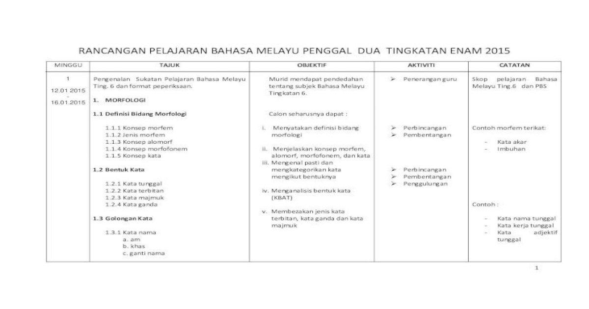 Rancangan Pelajaran Bahasa Melayu Penggal Dua 4 H Perasaan I Pancaindera 1 3 4 Kata Tugas A Pdf Document