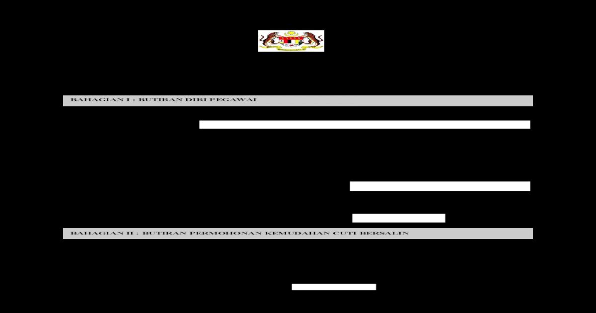 Borang Kemudahan Cuti Bersalin Pegawai Lampiran B Jpa Saraan 223 5 4 3 Jld 3 16 Kementerian Jabatan Pdf Document
