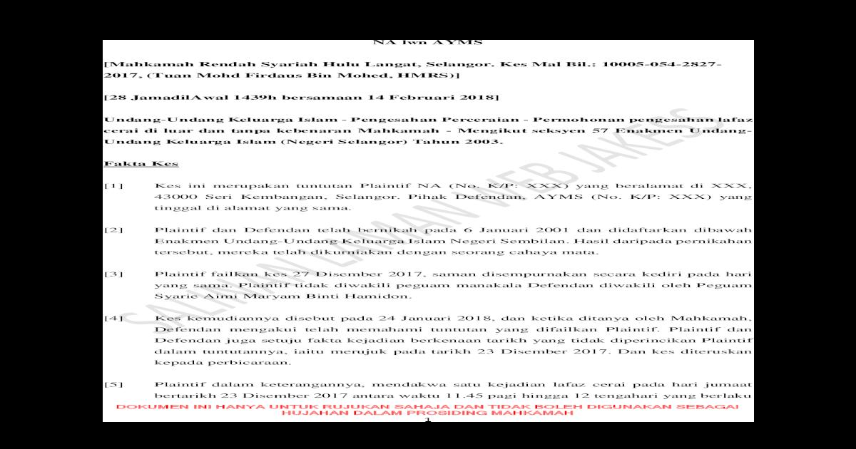 Na Lwn Ayms Mahkamah Rendah Syariah Hulu Langat 2019 Na V Ayms Pdf Cerai Di Luar Dan Tanpa Kebenaran Pdf Document