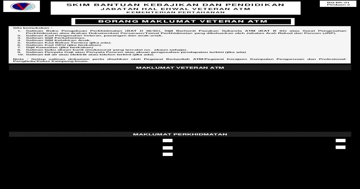 Bq Bk 01 Skim Bantuan Kebajikan Dan Pendidikan Bq Bk 01 Pindaan