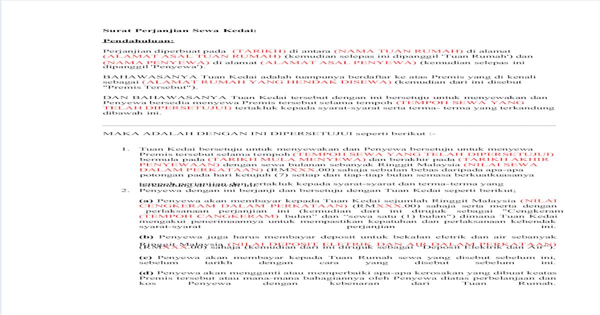 Surat Perjanjian Sewa Kedai Pdf Document