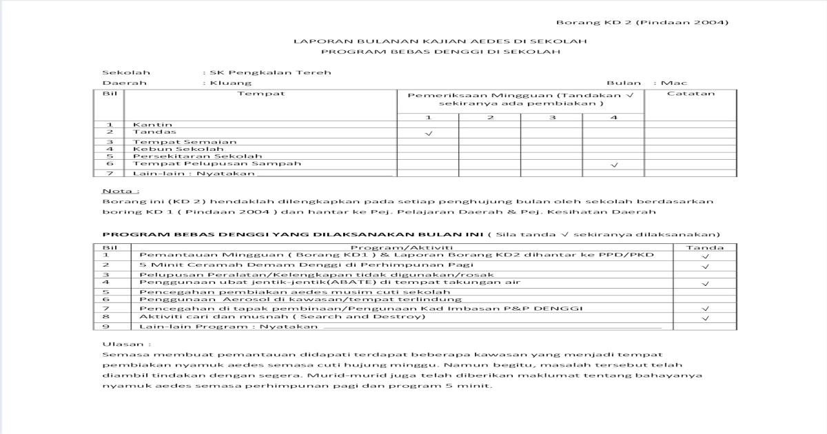 Laporan Bulanan Kajian Aedes Di Sekolah Mac Pdf Document