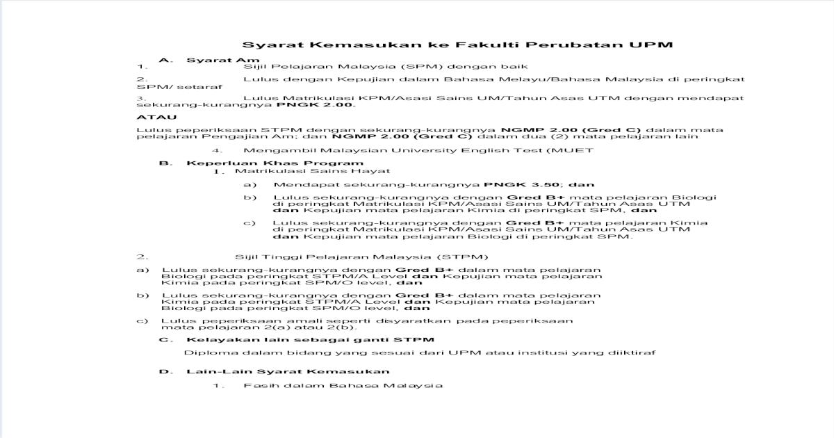 Syarat Kemasukan Ke Fakulti Perubatan Upm Pdf Document
