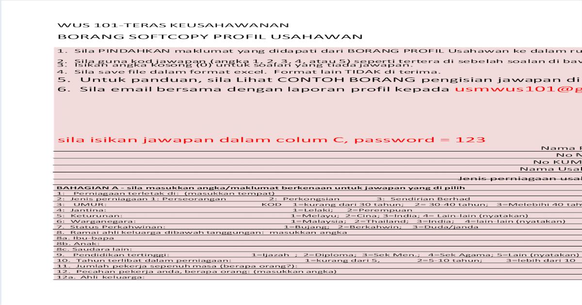 Borang Jawapan Soal Selidik Profil Usahawan Sept 2013 Pdf Document