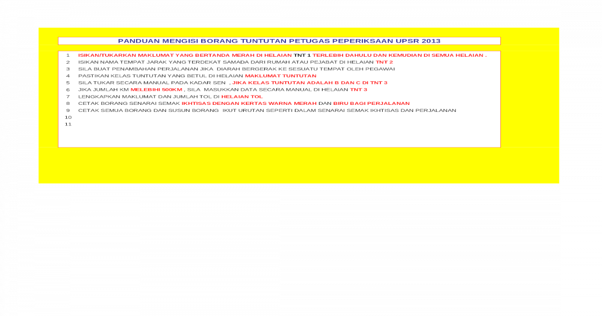 Tuntutan Pengawas Xls Document