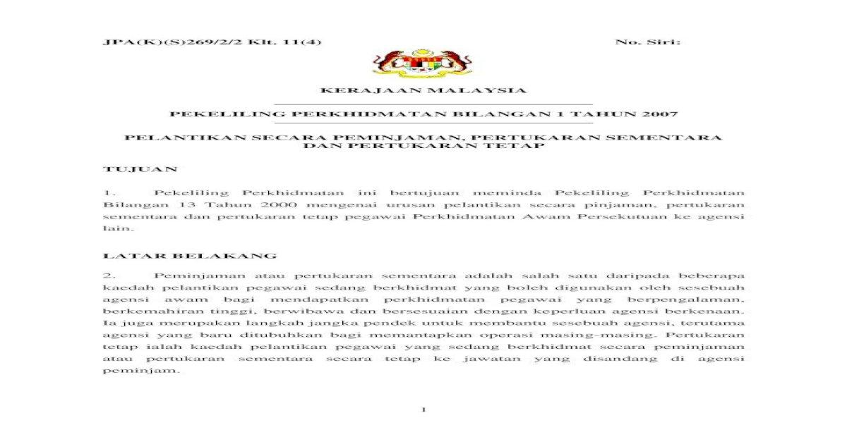 Pekeliling Perkhidmatan Bilangan 1 Tahun 2007 Dimensi Peminjaman Pegawai Perkhidmatan Awam Persekutuan Pdf Document