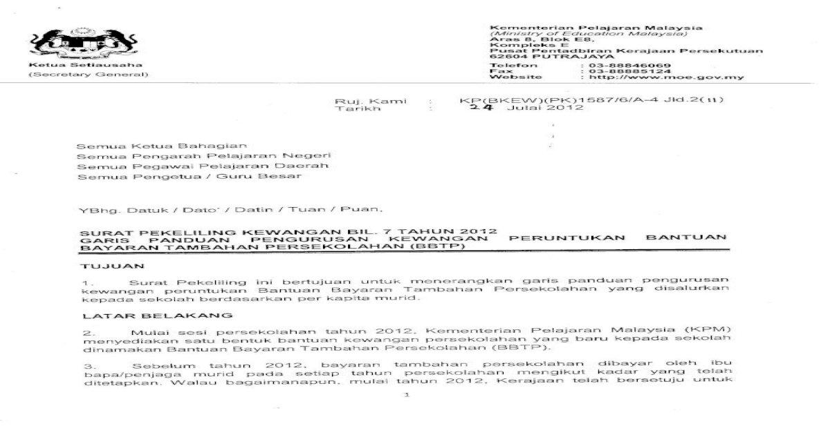 Kadar Bbtp Yang Layak Dituntut Oleh Sekolah Untuk Setiap Murid Prasekolah Ialah Rm1 50 Sahaja Murid Pdf Document