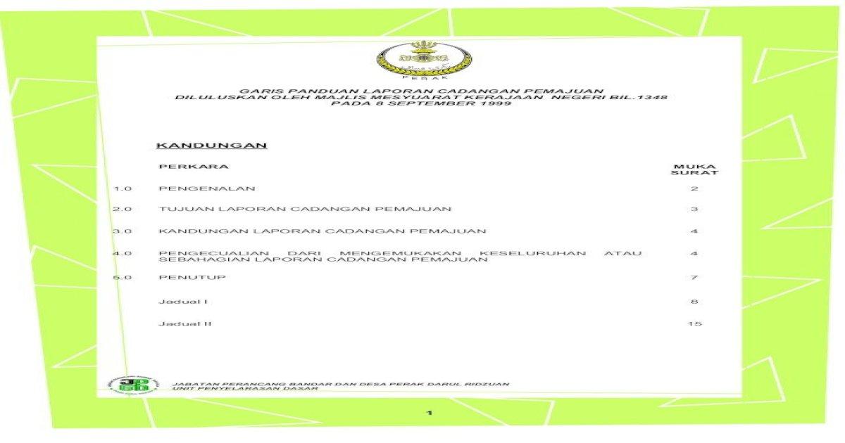Garis Panduan Laporan Cadangan Pemajuan 1 0 Pengenalan 2 2 0 Tujuan Laporan Cadangan Pemajuan 3 3 0 Pdf Document