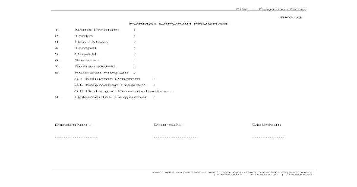 Senarai Semak Laporan Program Pdf Document